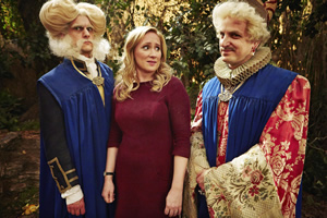 Yonderland. Image shows from L to R: Mathew Baynton, Debbie Maddox (Martha Howe-Douglas), Ben Willbond. Copyright: Working Title Films.
