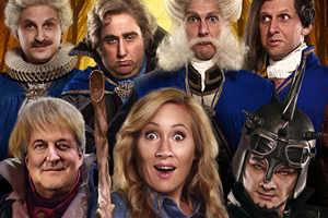 Yonderland. Image shows from L to R: Ben Willbond, Cuddly Dick (Stephen Fry), Jim Howick, Debbie Maddox (Martha Howe-Douglas), Mathew Baynton, Simon Farnaby, Laurence Rickard. Copyright: Working Title Films.