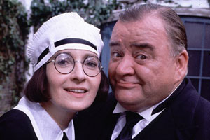 You Rang, M'Lord?. Image shows from L to R: Ivy Teasdale (Su Pollard), Alf Stokes (Paul Shane). Copyright: BBC.