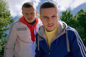 The Young Offenders. Image shows from L to R: Jock O'Keeffe (Chris Walley), Conor MacSweeney (Alex Murphy).