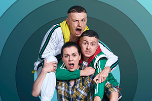 The Young Offenders. Image shows from L to R: Jock O'Keeffe (Chris Walley), Mairead MacSweeney (Hilary Rose), Conor MacSweeney (Alex Murphy).