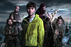Zapped. Image shows from L to R: Steg (Kenneth Collard), Herman (Louis Emerick), Brian (James Buckley), Barbara (Sharon Rooney), Howell (Paul Kaye).