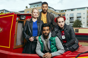Zomboat!. Image shows from L to R: Jo (Cara Theobold), Amar (Ryan McKen), Sunny (Hamza Jeetooa), Kat (Leah Brotherhead). Copyright: Noho Film and TV.