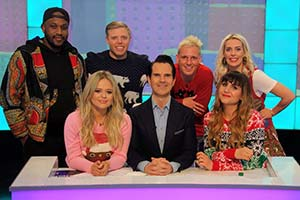 8 Out Of 10 Cats. Image shows from L to R: Ola, Emily Atack, Rob Beckett, Jimmy Carr, Jamie Laing, Natasia Demetriou, Sara Pascoe. Copyright: Zeppotron.