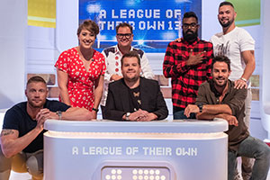 A League Of Their Own. Image shows from L to R: Andrew Flintoff, Lizzy Yarnold, Alan Carr, James Corden, Romesh Ranganathan, Jamie Redknapp, Tony Bellew. Copyright: CPL Productions.