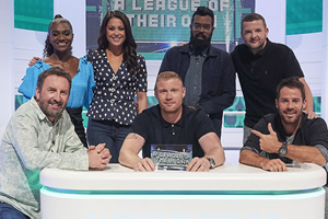 A League Of Their Own. Image shows from L to R: Lee Mack, Dina Asher Smith, Sam Quek, Andrew Flintoff, Romesh Ranganathan, Kevin Bridges, Jamie Redknapp. Copyright: CPL Productions.