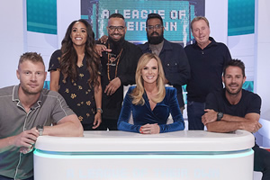 A League Of Their Own. Image shows from L to R: Andrew Flintoff, Alex Scott, Guz Khan, Amanda Holden, Romesh Ranganathan, Harry Redknapp, Jamie Redknapp. Copyright: CPL Productions.