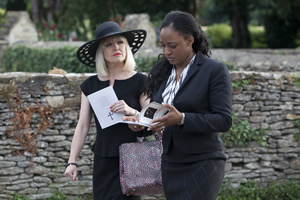 Agatha Raisin. Image shows from L to R: Agatha Raisin (Ashley Jensen), Tracy Forrest (Elexi Walker).