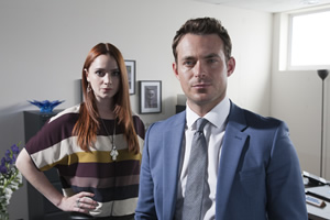 Agatha Raisin. Image shows from L to R: Portia Salmond (Ruby Thomas), Guy Freemont (Jules Knight).