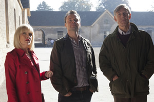 Agatha Raisin. Image shows from L to R: Agatha Raisin (Ashley Jensen), James Lacey (Jamie Glover), Lord Pendlebury (Douglas Reith).