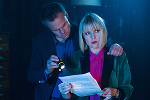 Agatha Raisin. Image shows from L to R: James Lacey (Jamie Glover), Agatha Raisin (Ashley Jensen).
