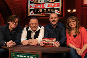 Al Murray's Great British Pub Quiz. Image shows from L to R: Ed Byrne, Shaun Williamson, Al Murray, Kerry Godliman. Copyright: Avalon Television.