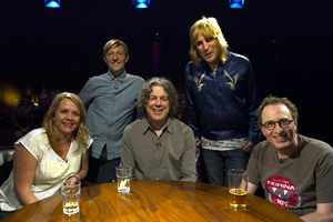 Alan Davies: As Yet Untitled. Image shows from L to R: Kerry Godliman, Andrew Maxwell, Alan Davies, Noel Fielding, Jon Ronson.