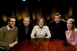 Alan Davies: As Yet Untitled. Image shows from L to R: Marcus Brigstocke, Bob Mortimer, Alan Davies, John Robins, Katherine Ryan.