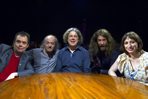 Alan Davies: As Yet Untitled. Image shows from L to R: Kevin Eldon, Bill Bailey, Alan Davies, Craig Campbell, Isy Suttie.