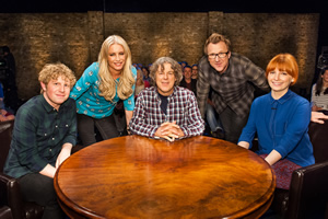 Alan Davies: As Yet Untitled. Image shows from L to R: Josh Widdicombe, Denise Van Outen, Alan Davies, Jason Byrne, Alice Levine. Copyright: Phil McIntyre Entertainment.