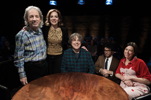 Alan Davies: As Yet Untitled. Image shows from L to R: Harry Shearer, Katherine Parkinson, Alan Davies, Richard Ayoade, Lou Sanders.