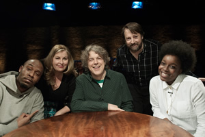 Alan Davies: As Yet Untitled. Image shows from L to R: Dane Baptiste, Liza Tarbuck, Alan Davies, David Mitchell, Lolly Adefope.