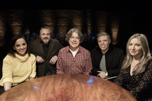 Alan Davies: As Yet Untitled. Image shows from L to R: Luisa Omielan, Al Murray, Alan Davies, Rob Beckett, Victoria Coren Mitchell.