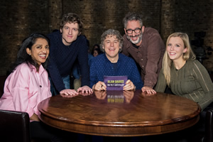 Alan Davies: As Yet Untitled. Image shows from L to R: Sindhu Vee, Elis James, Alan Davies, David Baddiel, Beattie Edmondson. Copyright: Phil McIntyre Entertainment.
