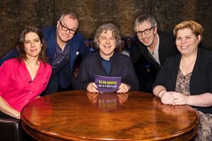 Alan Davies: As Yet Untitled. Image shows from L to R: Lou Sanders, Jack Dee, Alan Davies, Ian Stone, Katy Brand. Copyright: Phil McIntyre Entertainment.