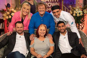All Round To Mrs. Brown's. Image shows from L to R: Danny Dyer, Cathy Brown (Jennifer Gibney), Mrs Brown (Brendan O'Carroll), Chris Dyer, Aly Mahmoud, Amir Khan.