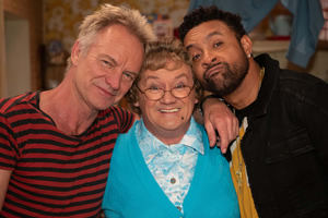 All Round To Mrs. Brown's. Image shows from L to R: Gordon Sumner, Mrs Brown (Brendan O'Carroll), Shaggy.