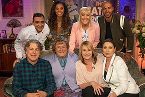 All Round To Mrs. Brown's. Image shows from L to R: Alan Davies, Aly Mahmoud, Rochelle Humes, Mrs Brown (Brendan O'Carroll), Cathy Brown (Jennifer Gibney), Roz Wiseman, Sharon Humes, Marvin Humes.