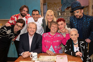 All Round To Mrs. Brown's. Image shows from L to R: Emre Türkmen, Mikey Goldsworthy, Jerry Springer, Aly Mahmoud, Cathy Brown (Jennifer Gibney), Mrs Brown (Brendan O'Carroll), Olly Alexander, Dinah O'Dowd, Boy George.