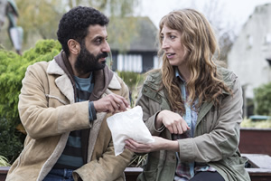 Back To Life. Image shows from L to R: Billy (Adeel Akhtar), Miranda (Daisy Haggard). Copyright: Two Brothers Pictures.
