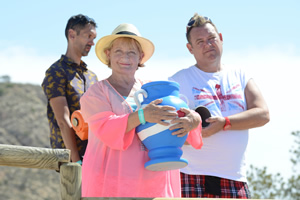 Benidorm. Image shows from L to R: Troy (Paul Bazely), Jacqueline Stewart (Janine Duvitski), Kenneth (Tony Maudsley). Copyright: Tiger Aspect Productions.
