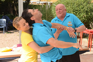 Benidorm. Image shows from L to R: Amber (Jessica Ellerby), Mateo (Jake Canuso), Les / Lesley (Tim Healy). Copyright: Tiger Aspect Productions.
