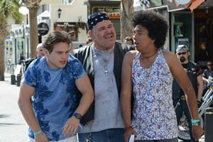 Benidorm. Image shows from L to R: Tiger Dyke (Danny Walters), José Luis (Stephen Marcus), Joey Ellis (Nathan Bryon). Copyright: Tiger Aspect Productions.