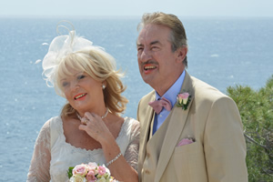 Benidorm. Image shows from L to R: Joyce Temple Savage (Sherrie Hewson), Monty (John Challis). Copyright: Tiger Aspect Productions.