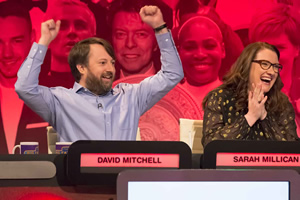 The Big Fat Quiz Of The Year. Image shows from L to R: David Mitchell, Sarah Millican.