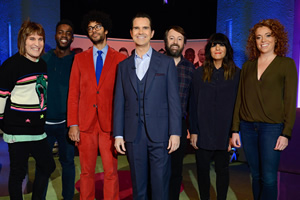 The Big Fat Quiz Of The Year. Image shows from L to R: Noel Fielding, Mo Gilligan, Richard Ayoade, Jimmy Carr, David Mitchell, Claudia Winkleman, Michelle Wolf.