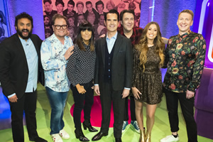 The Big Fat Quiz Of The Year. Image shows from L to R: Nish Kumar, Alan Carr, Claudia Winkleman, Jimmy Carr, Jonathan Ross, Stacey Solomon, Joe Lycett.