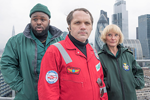 Bloods. Image shows from L to R: Maleek (Samson Kayo), Phil (Matthew Holness), Wendy (Jane Horrocks). Copyright: Roughcut Television.