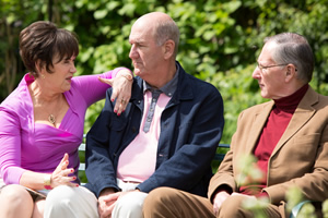 Boomers. Image shows from L to R: Pauline (Marian McLoughlin), John (Russ Abbot), Trevor (James Smith). Copyright: Hat Trick Productions.