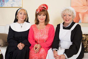 Boomers. Image shows from L to R: Carol (Paula Wilcox), Maureen (Stephanie Beacham), Joyce (Alison Steadman). Copyright: Hat Trick Productions.