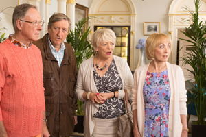 Boomers. Image shows from L to R: Trevor (James Smith), Alan (Philip Jackson), Joyce (Alison Steadman), Carol (Paula Wilcox). Copyright: Hat Trick Productions.