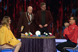 CelebAbility. Image shows from L to R: Iain Stirling, Marek Larwood, Bobby Norris. Copyright: Potato.