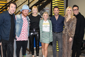 Celebrity Juice. Image shows from L to R: Jonathan Ross, Leigh Francis, Holly Willoughby, Lucy Fallon, Gino D'Acampo, Fearne Cotton, Gok Wan.