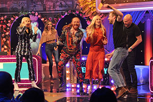 Celebrity Juice. Image shows from L to R: Holly Willoughby, Nadine Coyle, Leigh Francis, Fearne Cotton, Ricky Wilson, Simon Rimmer.