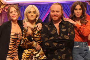 Celebrity Juice. Image shows from L to R: Jaime Winstone, Rita Ora, Leigh Francis, Alexa Chung.