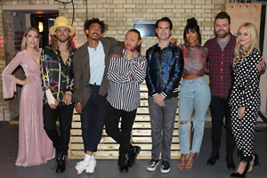 Celebrity Juice. Image shows from L to R: Katherine Ryan, Joel Dommett, Jordan Stephens, Leigh Francis, Jimmy Carr, Maya Jama, Brian McFadden, Fearne Cotton.