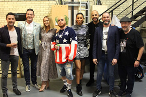 Celebrity Juice. Image shows from L to R: Gino D'Acampo, Craig Revel Horwood, Kimberley Walsh, Leigh Francis, Rochelle Humes, Marvin Humes, Fred Sirieix, Johnny Vegas.