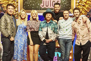 Celebrity Juice. Image shows from L to R: John Barrowman, Emily Atack, Holly Willoughby, Leigh Francis, Mark Wright, Paddy McGuinness, Howard Donald.