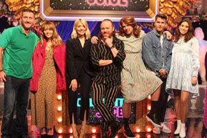 Celebrity Juice. Image shows from L to R: Will Mellor, Samia Smith, Holly Willoughby, Leigh Francis, Paddy McGuinness, Joel Dommett, Stacey Solomon.