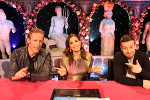 Celebrity Juice. Image shows from L to R: Laurence Fox, Stacey Solomon, Chris Ramsey.